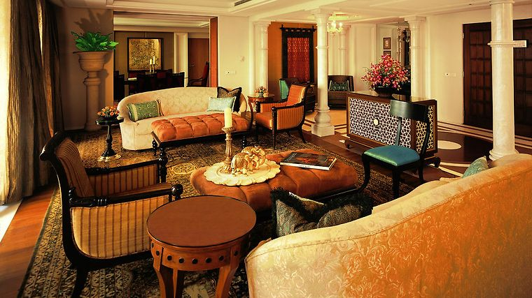 Oberoi Amarvilas Interior King Bed, 157SQM. 24 hour Butler Service.\nseparate living and dining rooms. There is a private study. The bedroom has a separate dressing area with walk-in closet. Here too the bathroom overlooks the Taj Mahal.